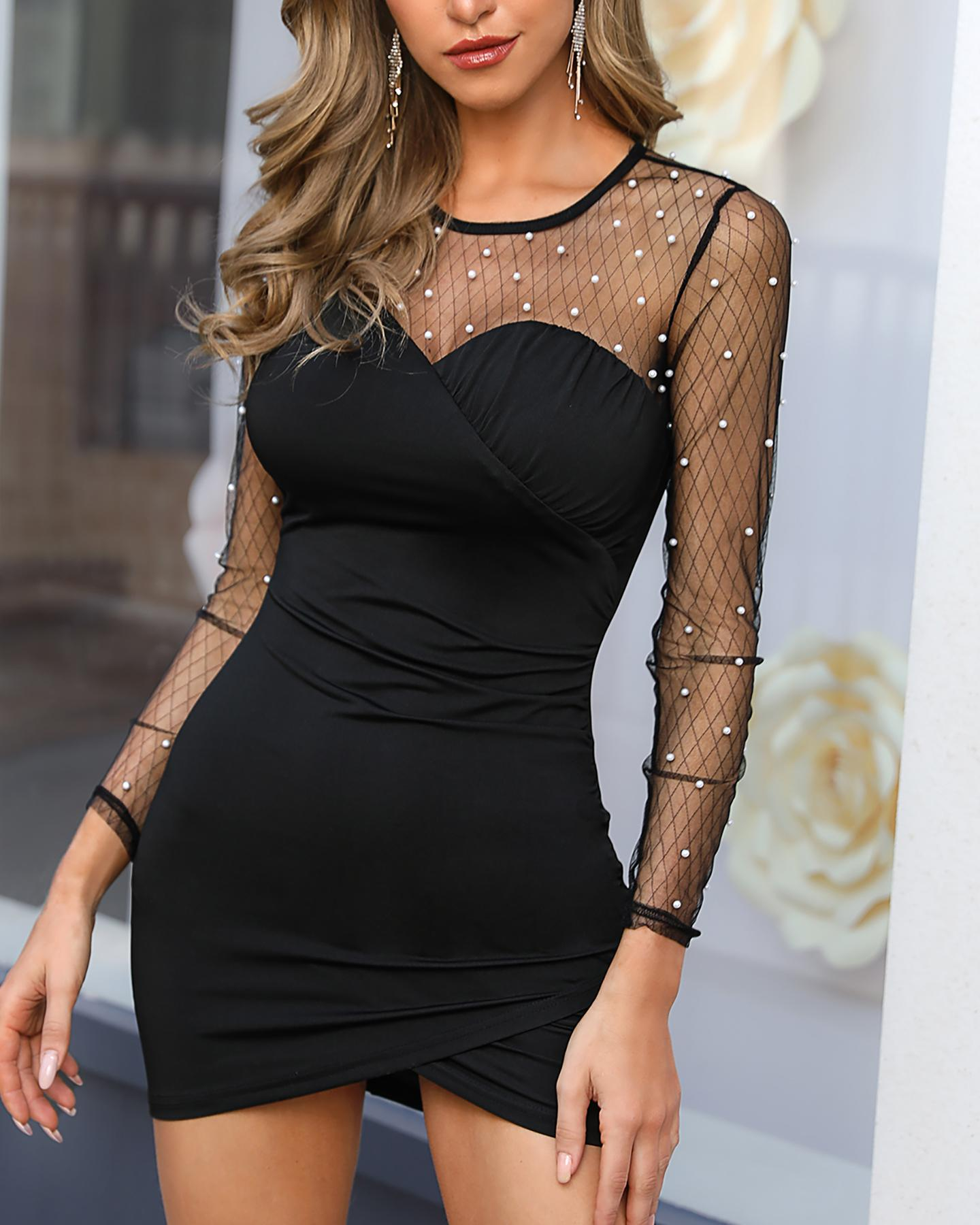 Beaded Mesh Insert Ruched Bodycon Dress фото