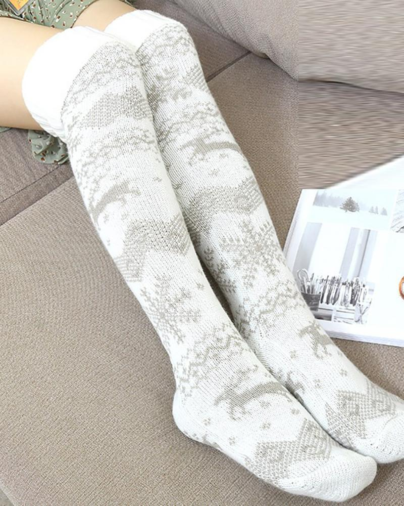 chicme / Christmas Mixed Print Over The Knee Socks