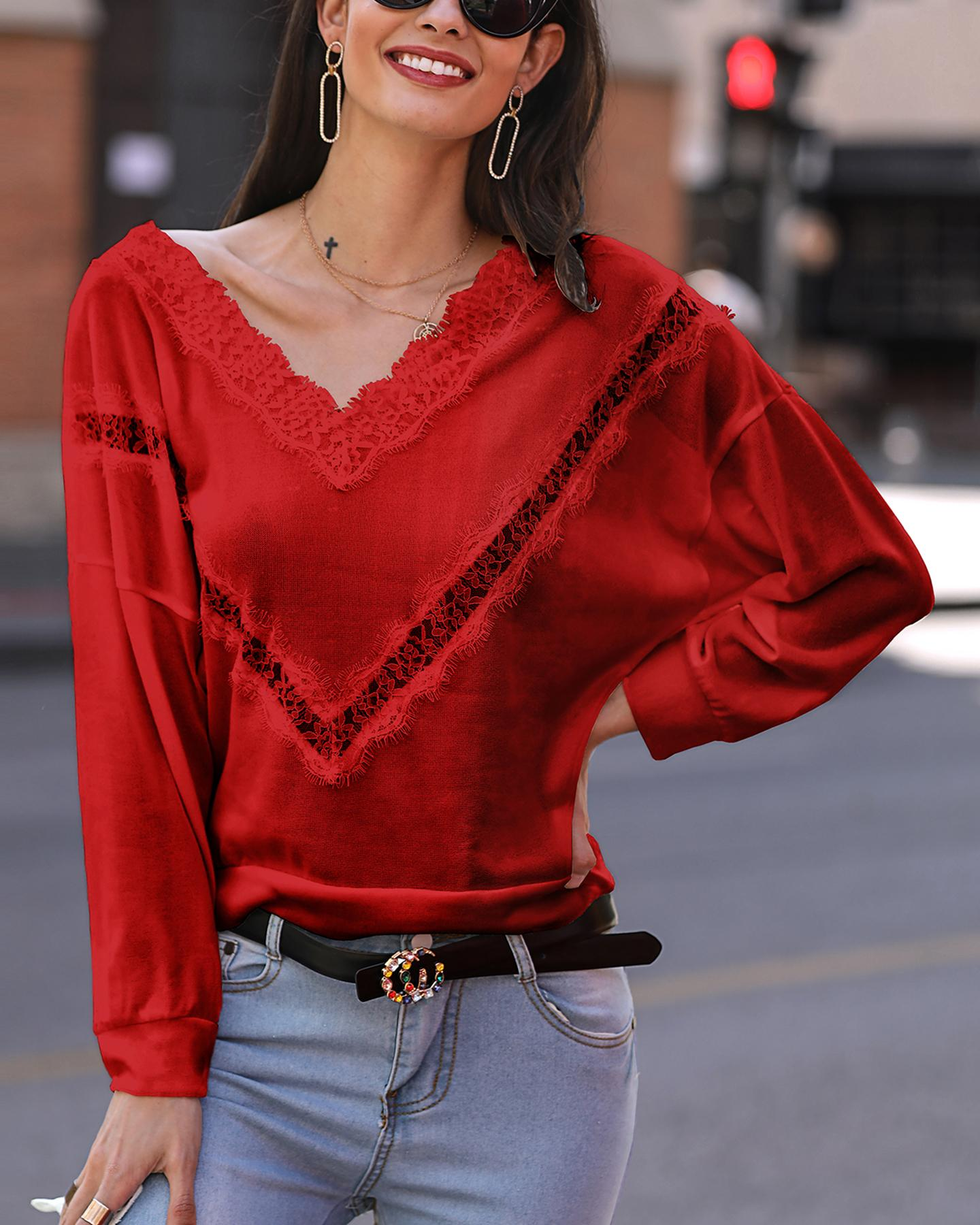 Solid Lace Hollow Out Detail Sweater фото