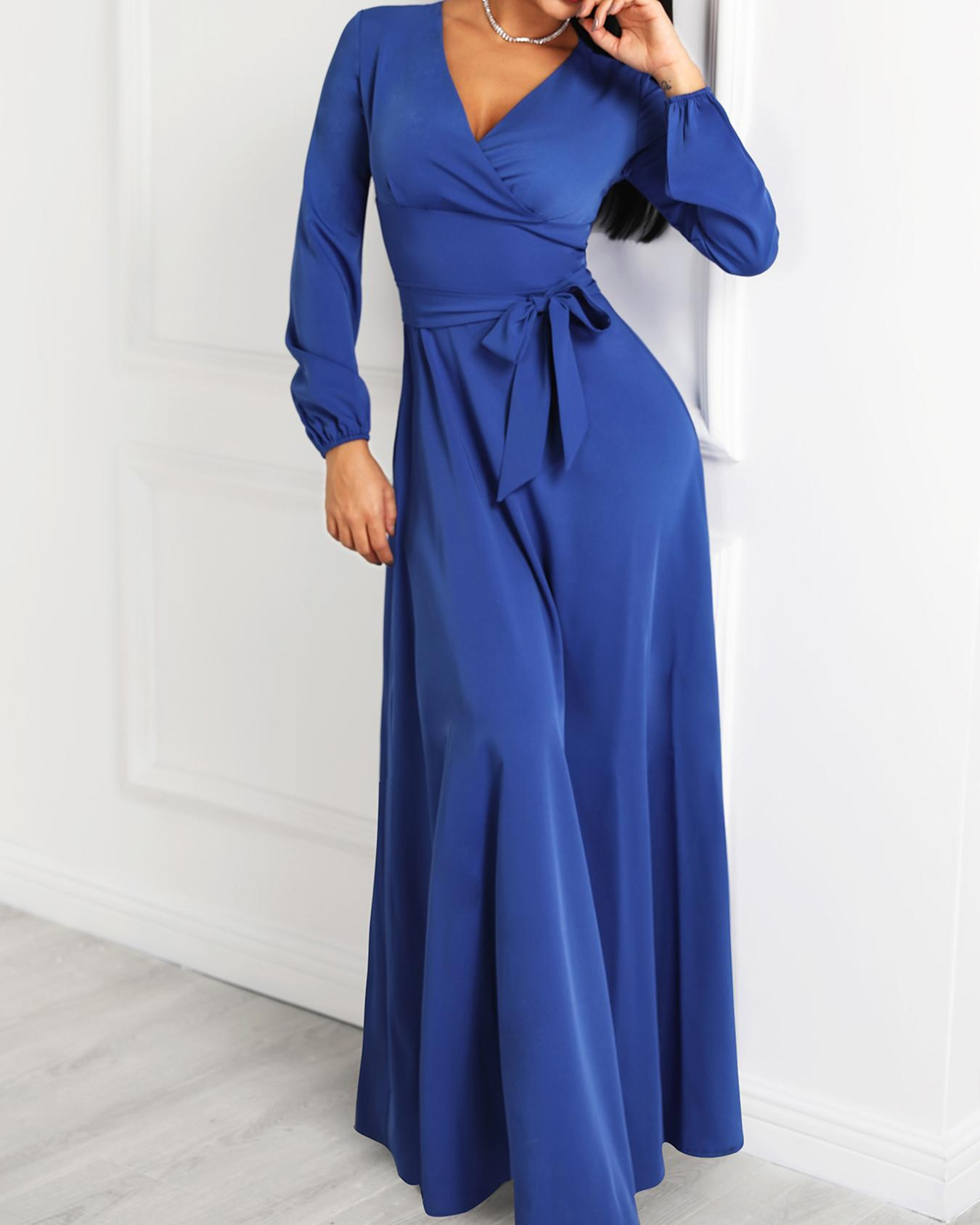 Lantern Sleeve Wrap Belted Maxi Dress
