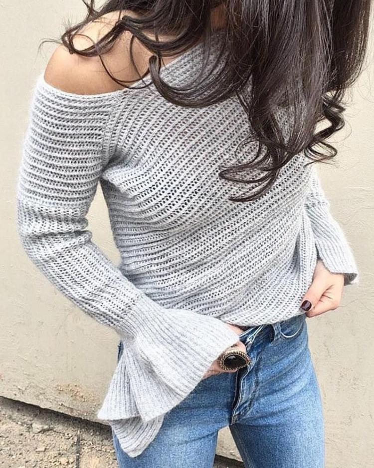 Asymmetric One Shoulder Flare Sleeve Casual Sweater