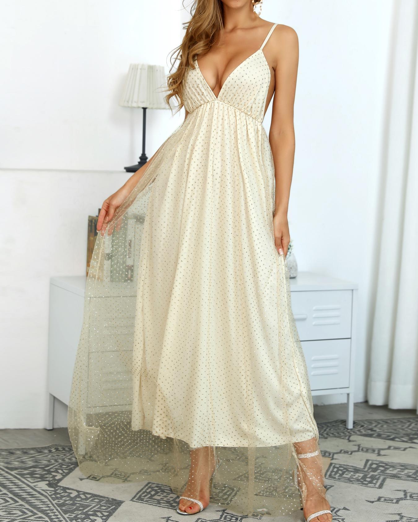 Glitter Spaghetti Strap Mesh Overlay Gowns Dress