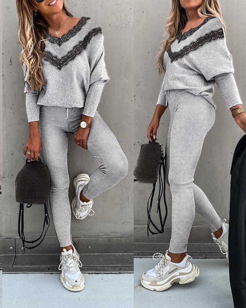 boutiquefeel / Lace Trim Long Sleeve Top & High Waist Drawstring Pants Set