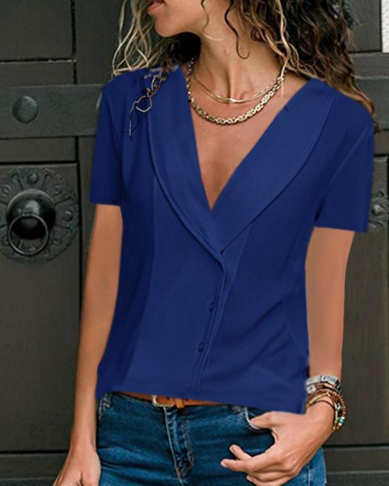 Casual Deep V-Neck Solid Color Fashion Short-Sleeved Top, Blue