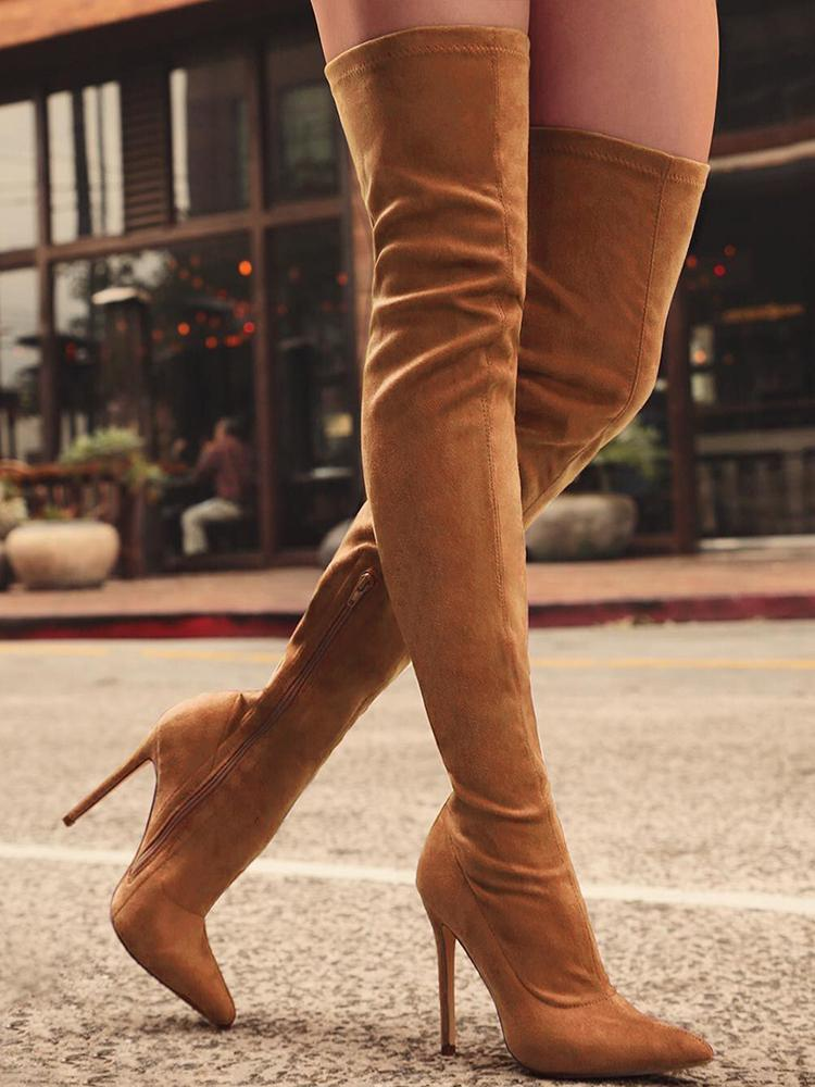 Knee-High Pointed Toe Heels Red Boots - Brown фото