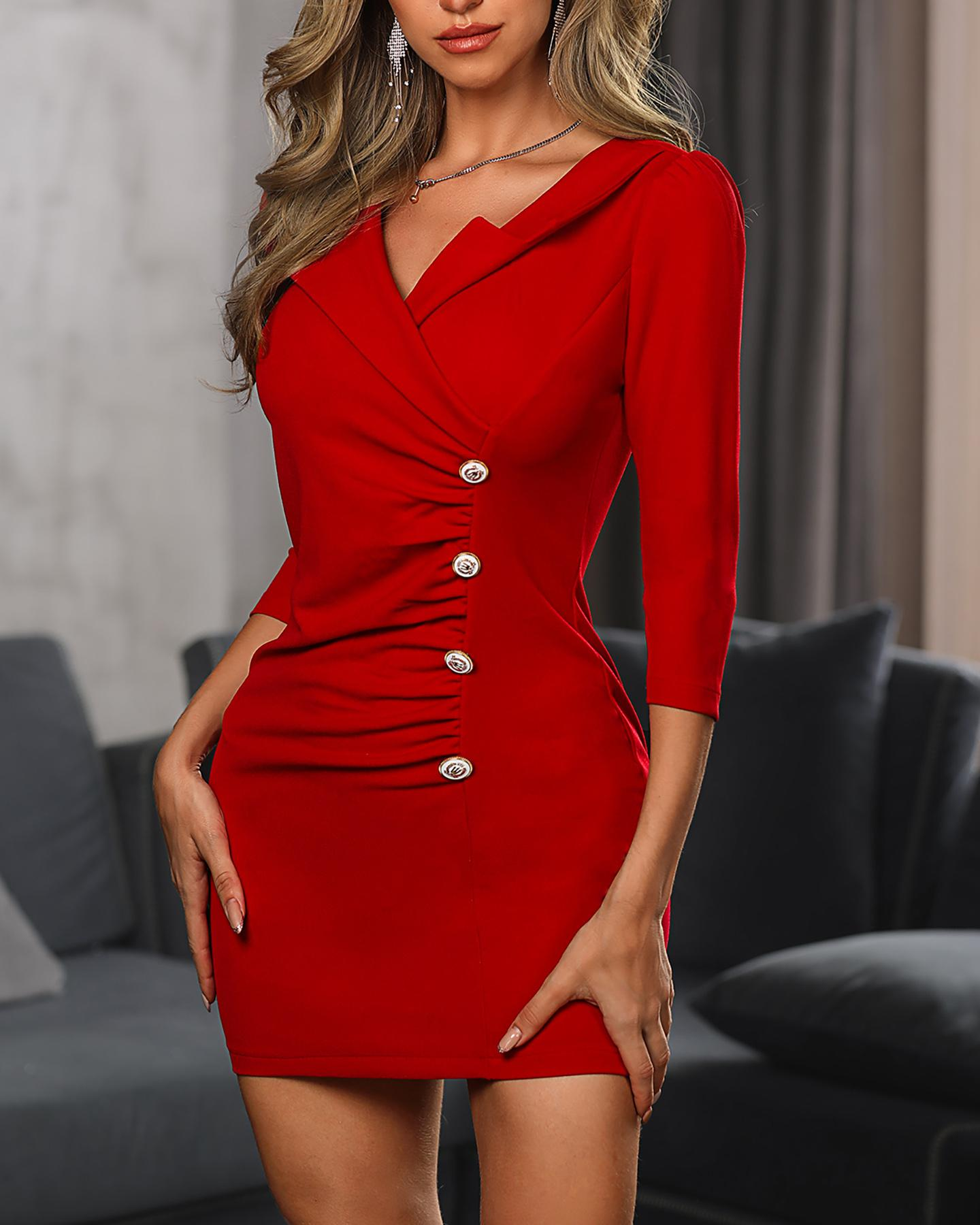 Ruched Button Design Bodycon Dress фото