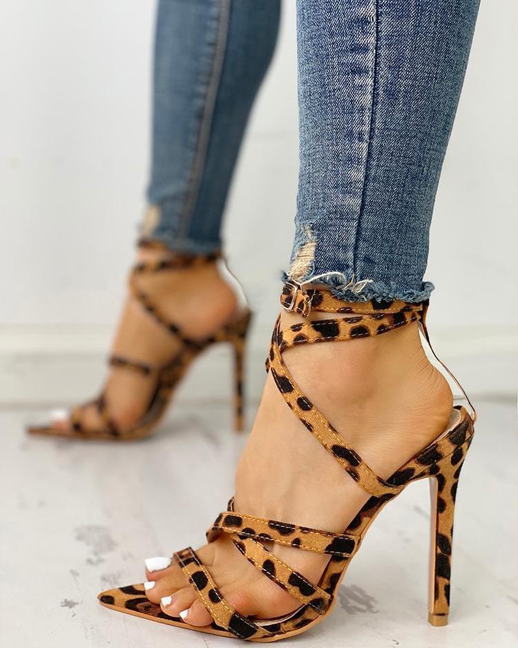 boutiquefeel / Leopard Bandage Crisscross Thin Heeled Sandals