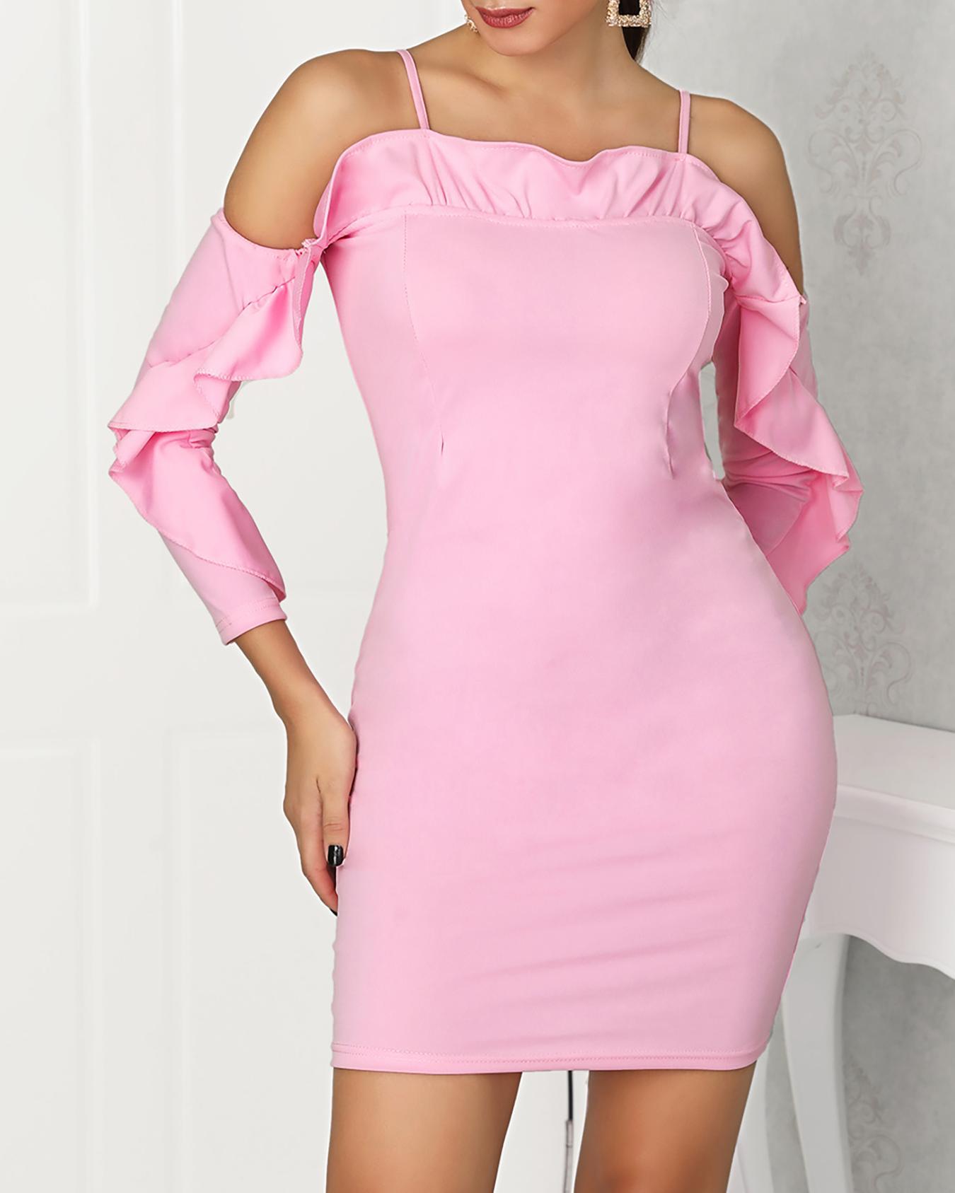 Cold Shoulder Ruffle Trim Bodycon Dress
