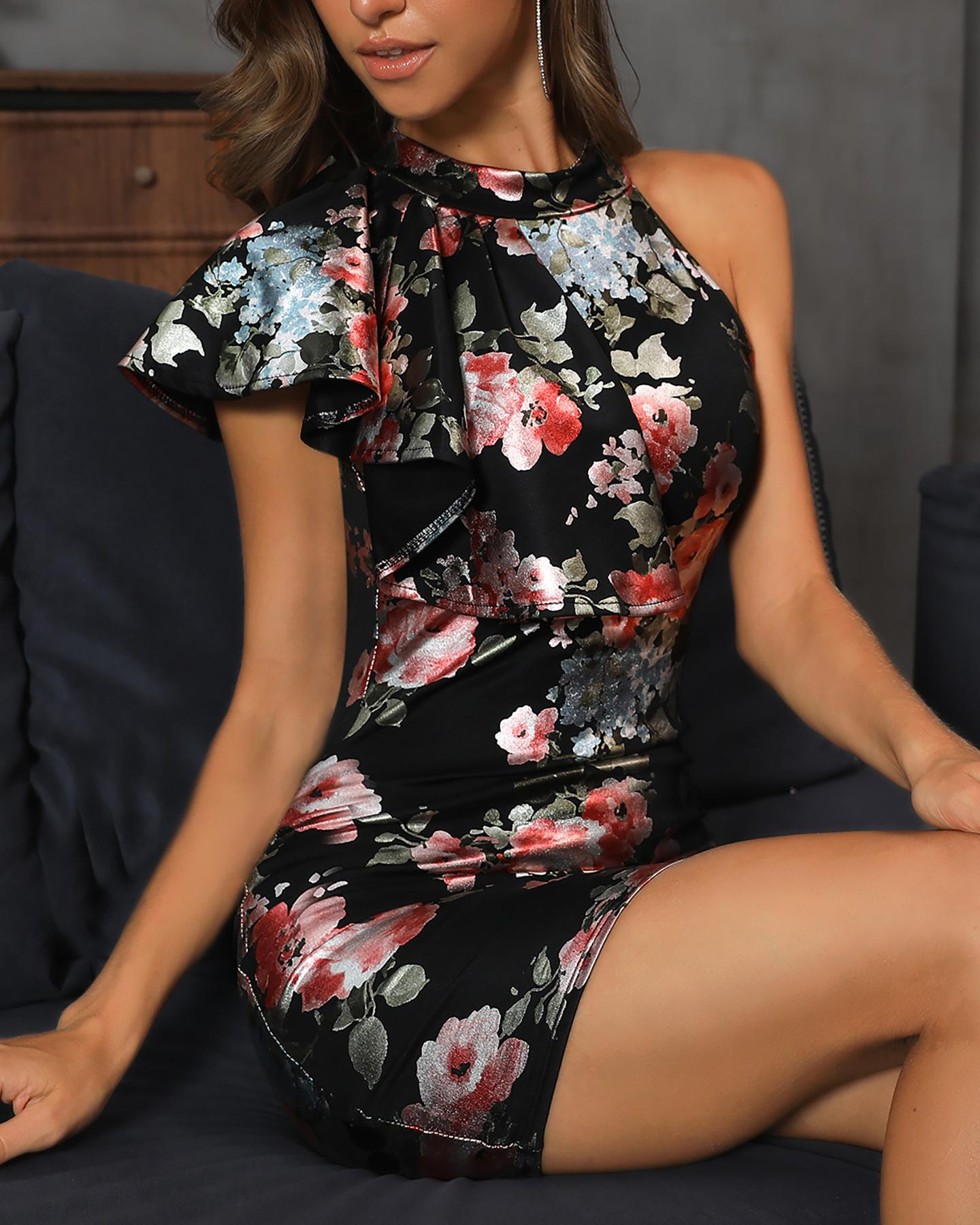 Floral Print Ruffles Design Bodycon Mini Dress