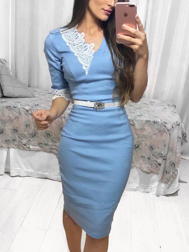 boutiquefeel / Crochet Lace Splicing Envoltório Bodycon Dress