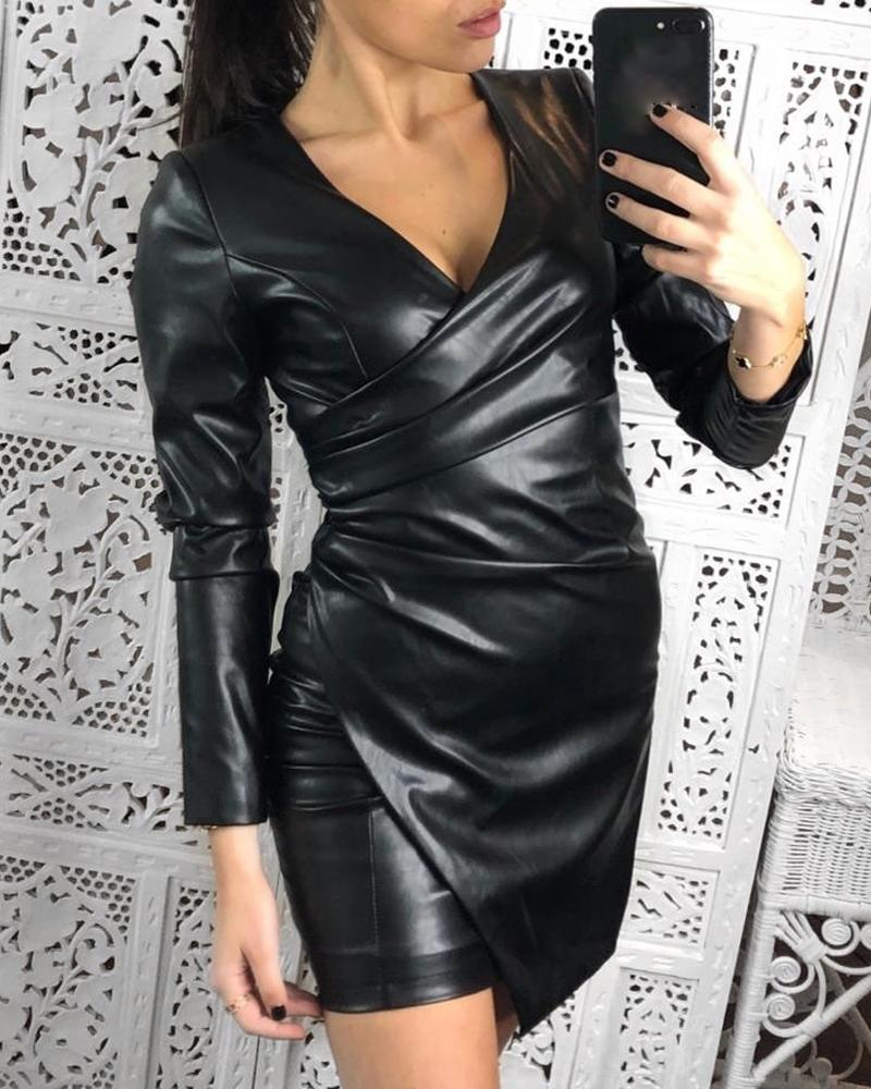 chicme / Ruched Faux Leather Bodycon Dress
