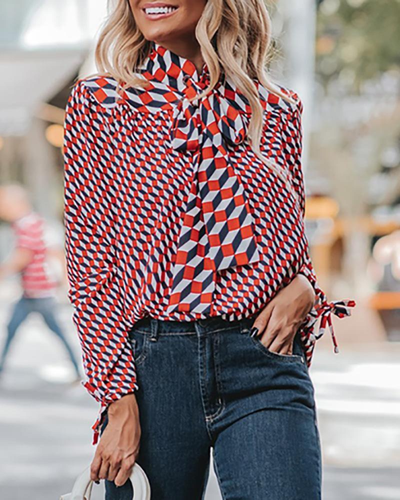 chicme / Impressão digital amarrada pescoço e blusa de punho