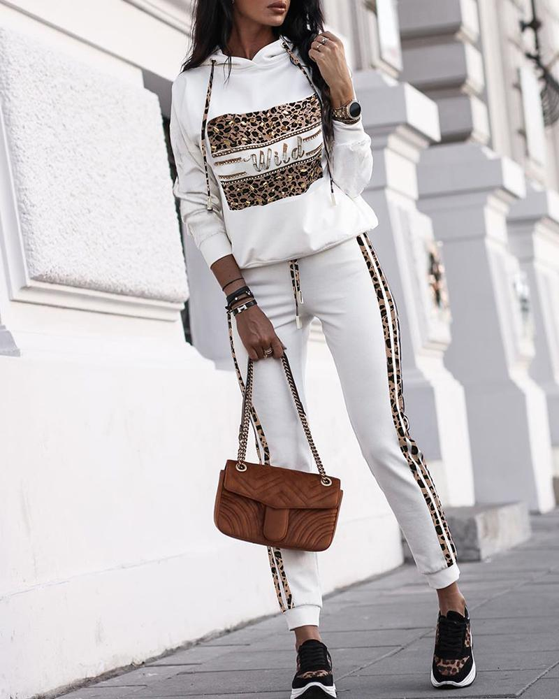 Leopard Hooded Top & Pants Sets, White