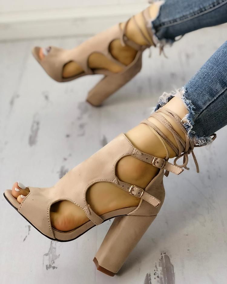 Lace-up Cutout Buckled Chunky Heel Sandals