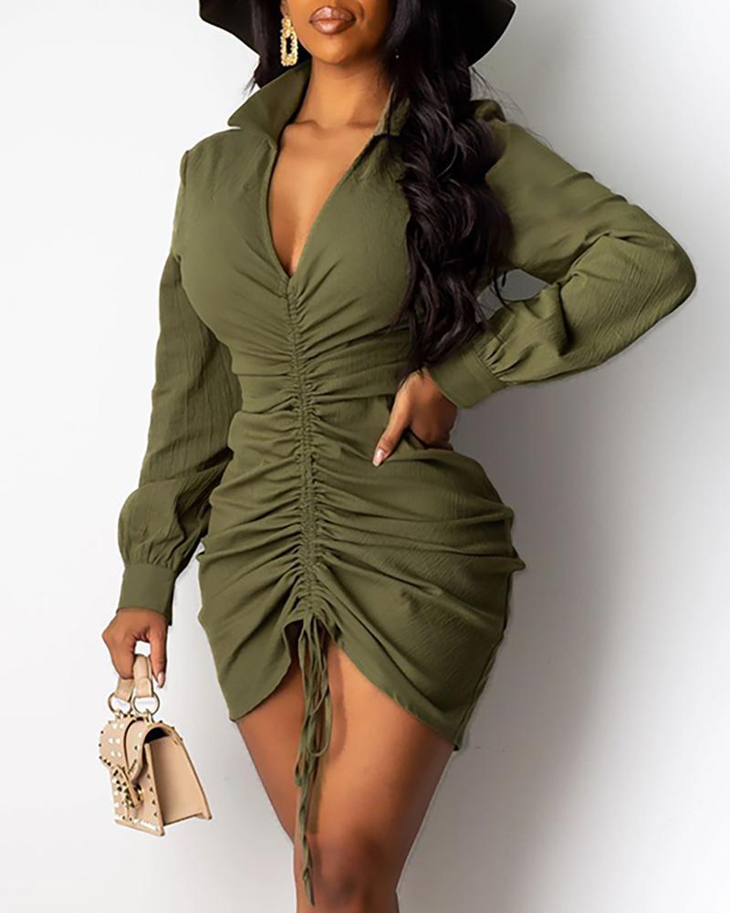 V Neck Drawstring Long Sleeve Bodycon Dress
