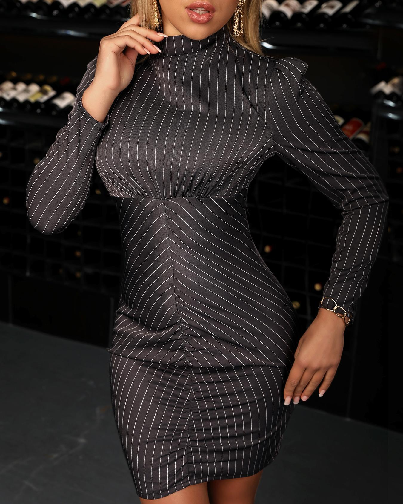 chicme / Long Sleeve Striped Bodycon Dress