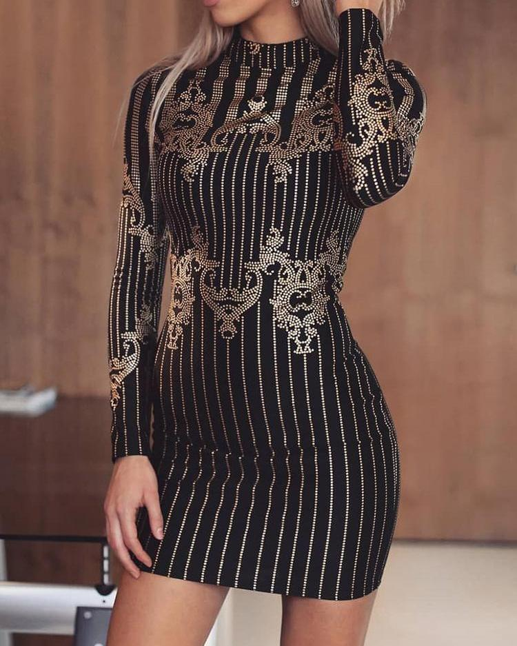 Hot Stamping Stripes Party Dress