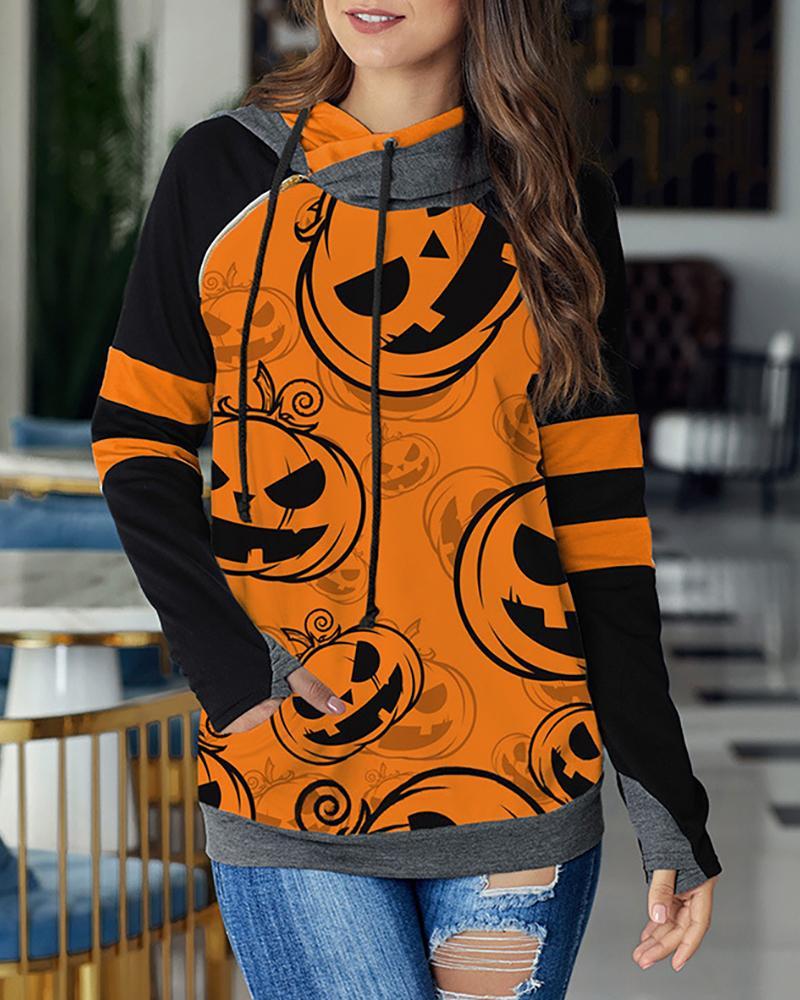 Halloween Pumpkin Print Casual Hoodie фото