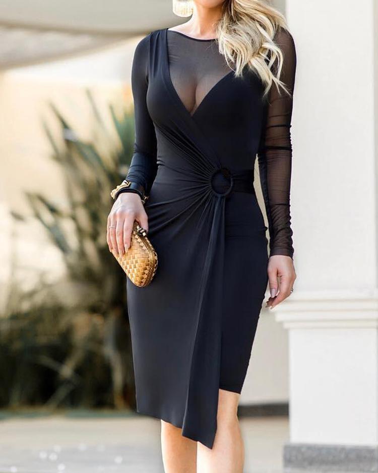 Sheer Mesh Insert O-Ring Scrunched Irregular Dress фото