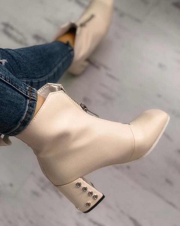 Metallic Zipper Design Chunky Heeled Boots
