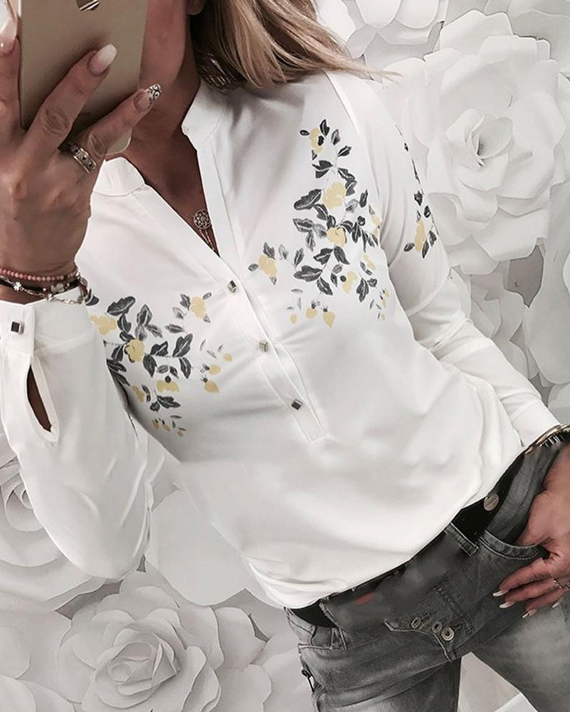Floral Print Buttoned Casual Shirt, White