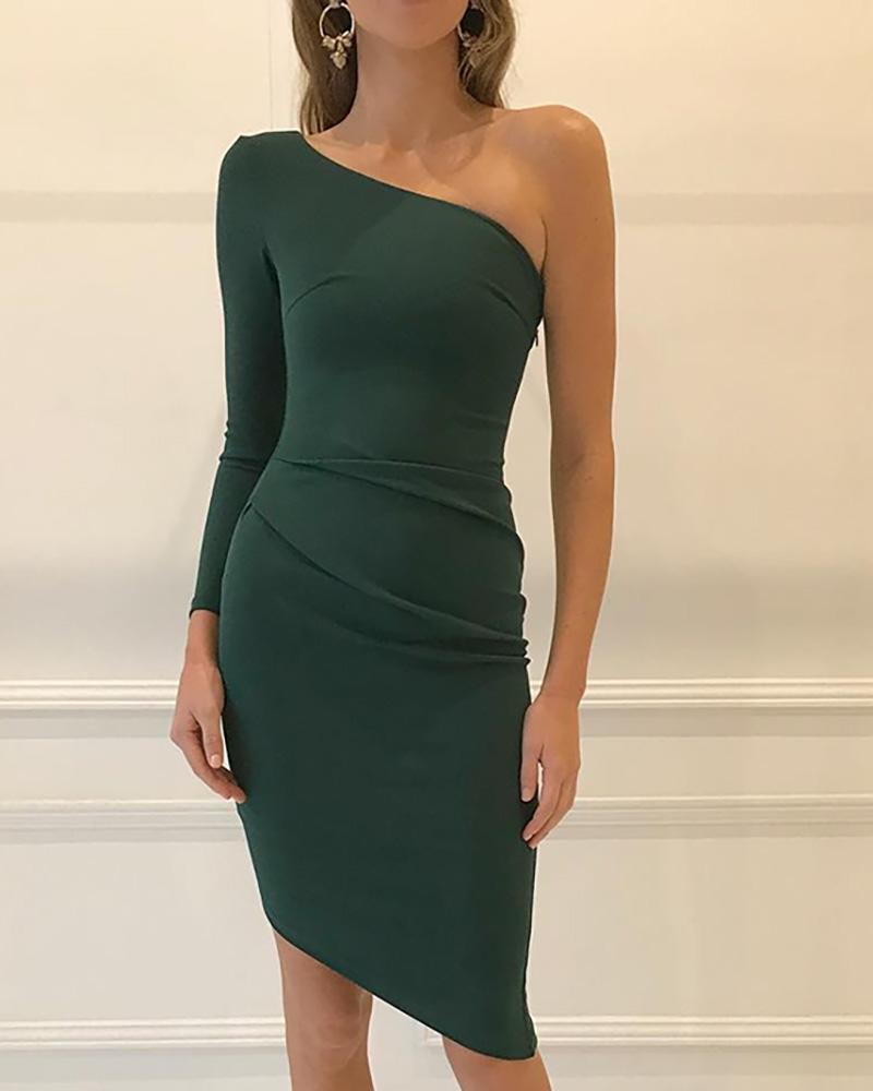 ivrose / One Shoulder Irregular Bodycon Dress