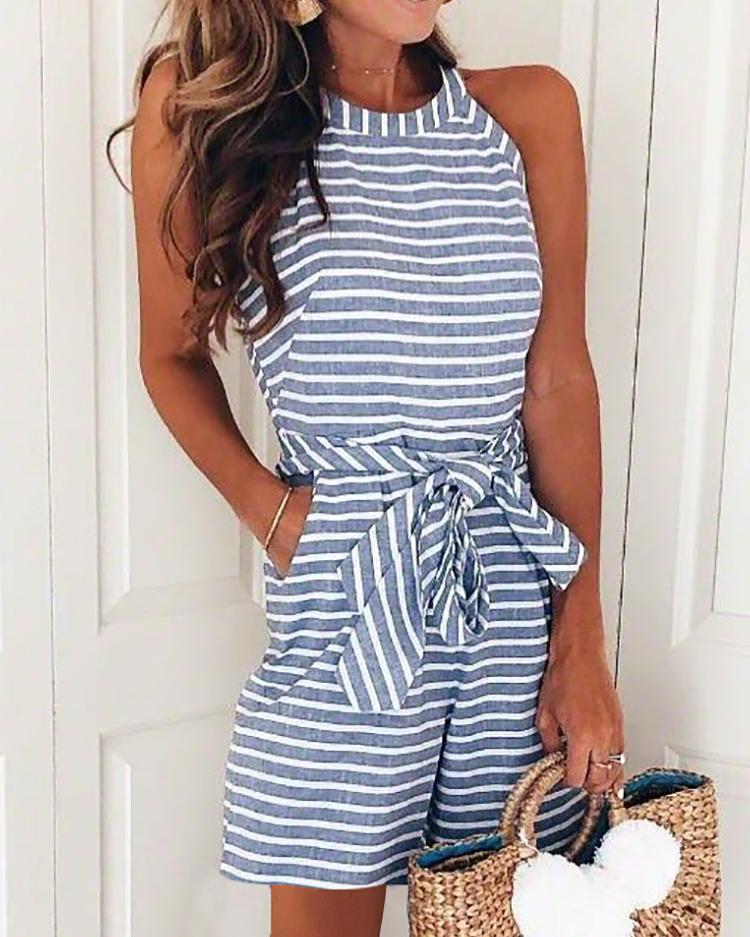 Striped Self Belted Casual Romper фото
