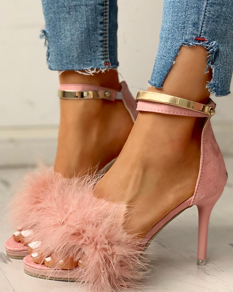 Fluffy Feather Pointed Toe Thin Heels, Pink