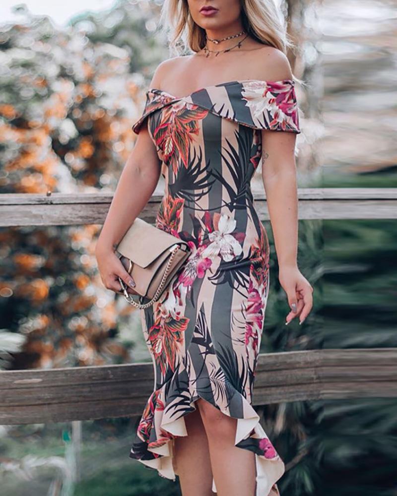 boutiquefeel / Vestido ajustado con dobladillo y volantes en los hombros