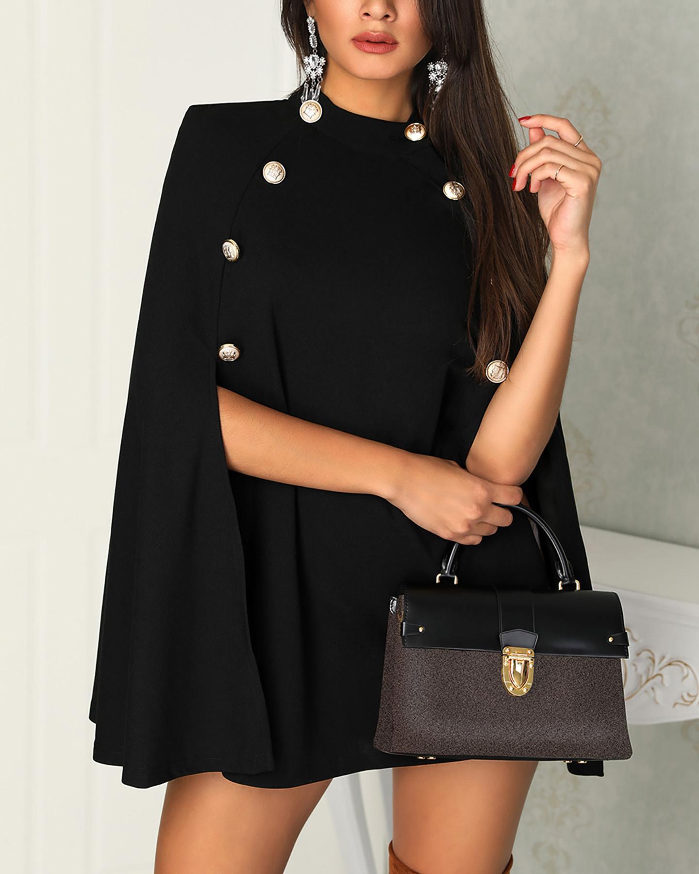 Metallic Button Cloak Design Mini Dress