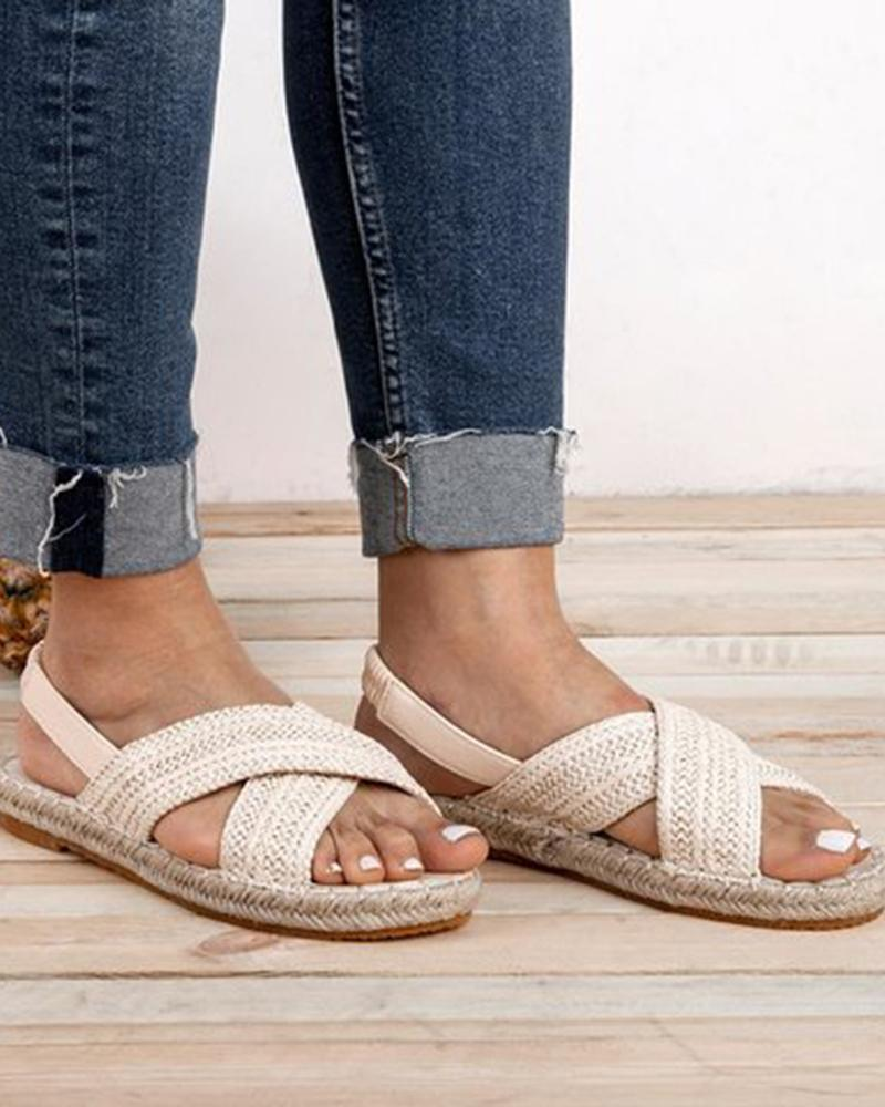 joyshoetique / Cross Woven Flat Sandals