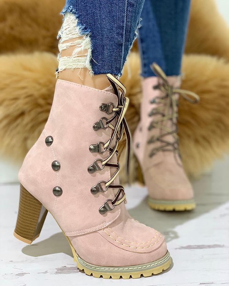 joyshoetique / Rivet Lace-Up Eyelet Chunky Heeled Boots