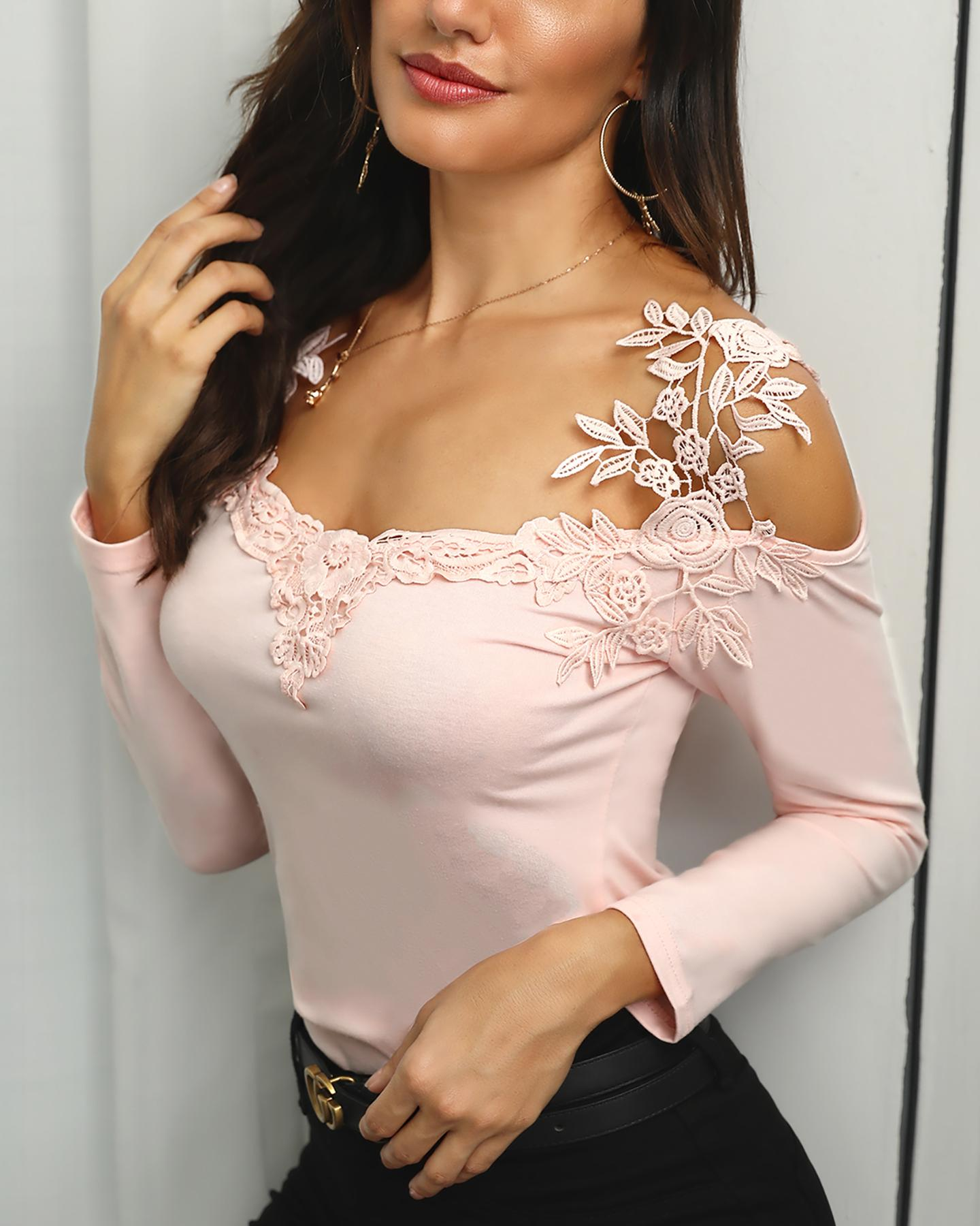 Lace Applique Long Sleeve Slim Fit Casual Blouse