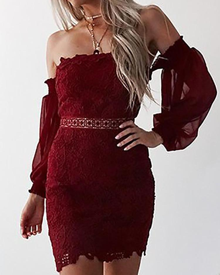 Off Shoulder Chiffon Puffed Sleeve Lace Bodycon Dress
