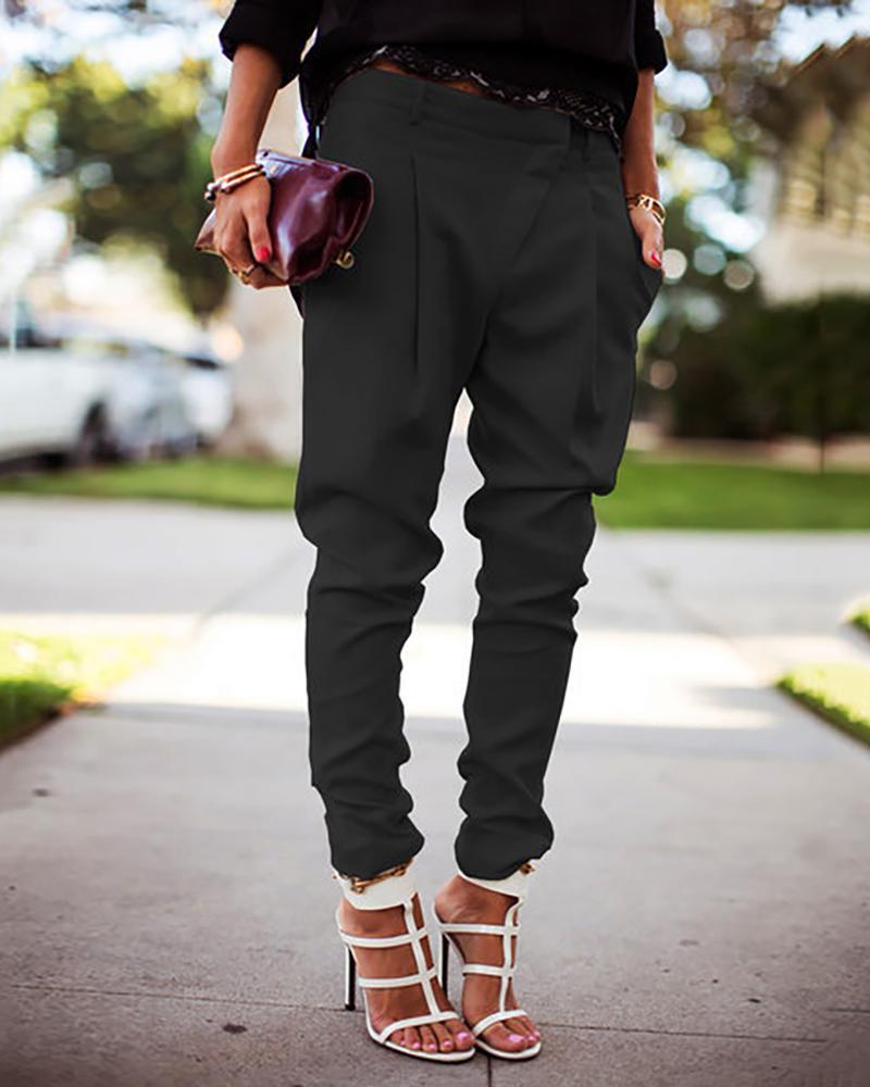 Solid Pocket Design Casual Pants фото