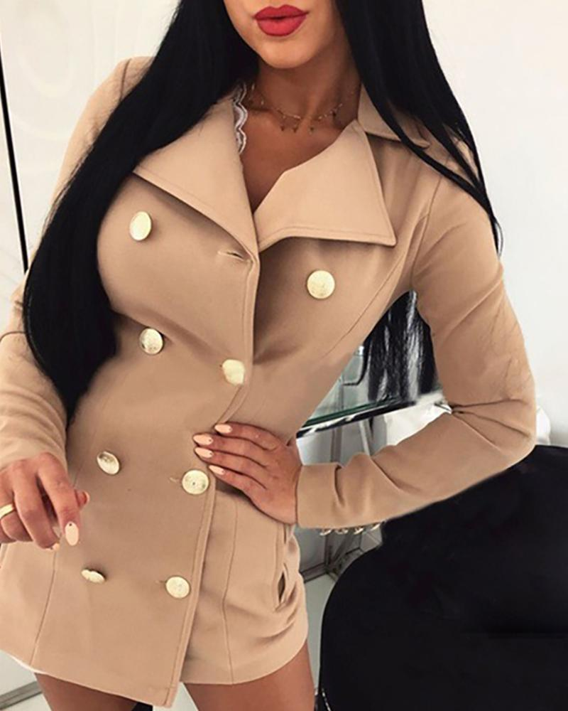 Solid Notched Collar Double-breasted Wool Blazer фото