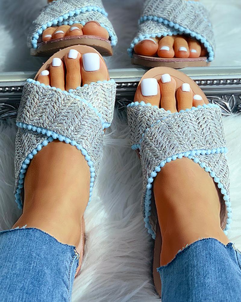 boutiquefeel / Sandalias planas trenzadas con punta abierta