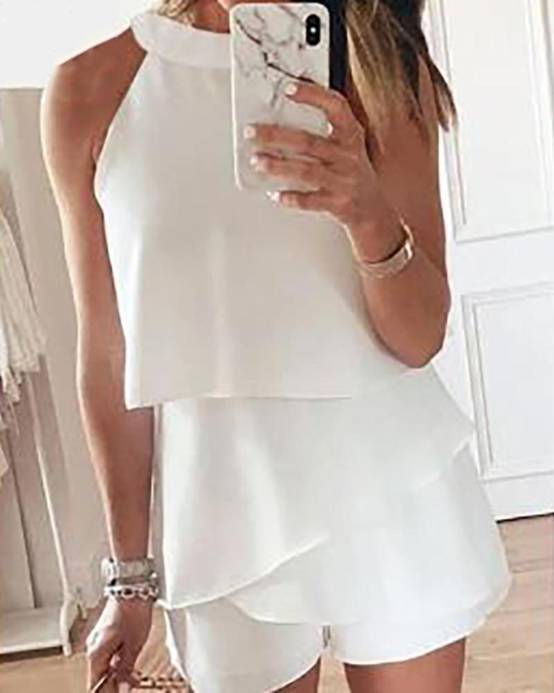Solid Round Neck Ruffles Casual Romper фото