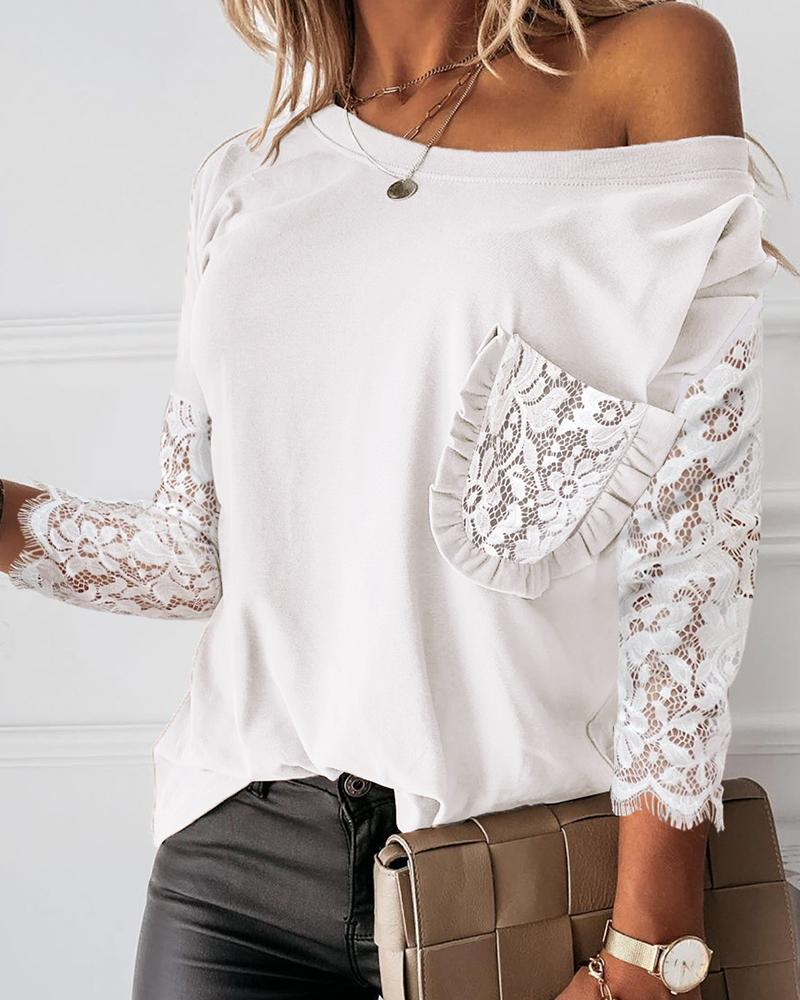 chicme / Pocket Design Crochet Lace Frill Hem Top