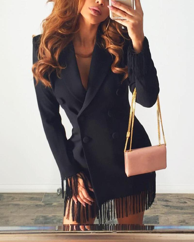 boutiquefeel / Double Breasted Design Tassel Patchwork Vestido Blazer