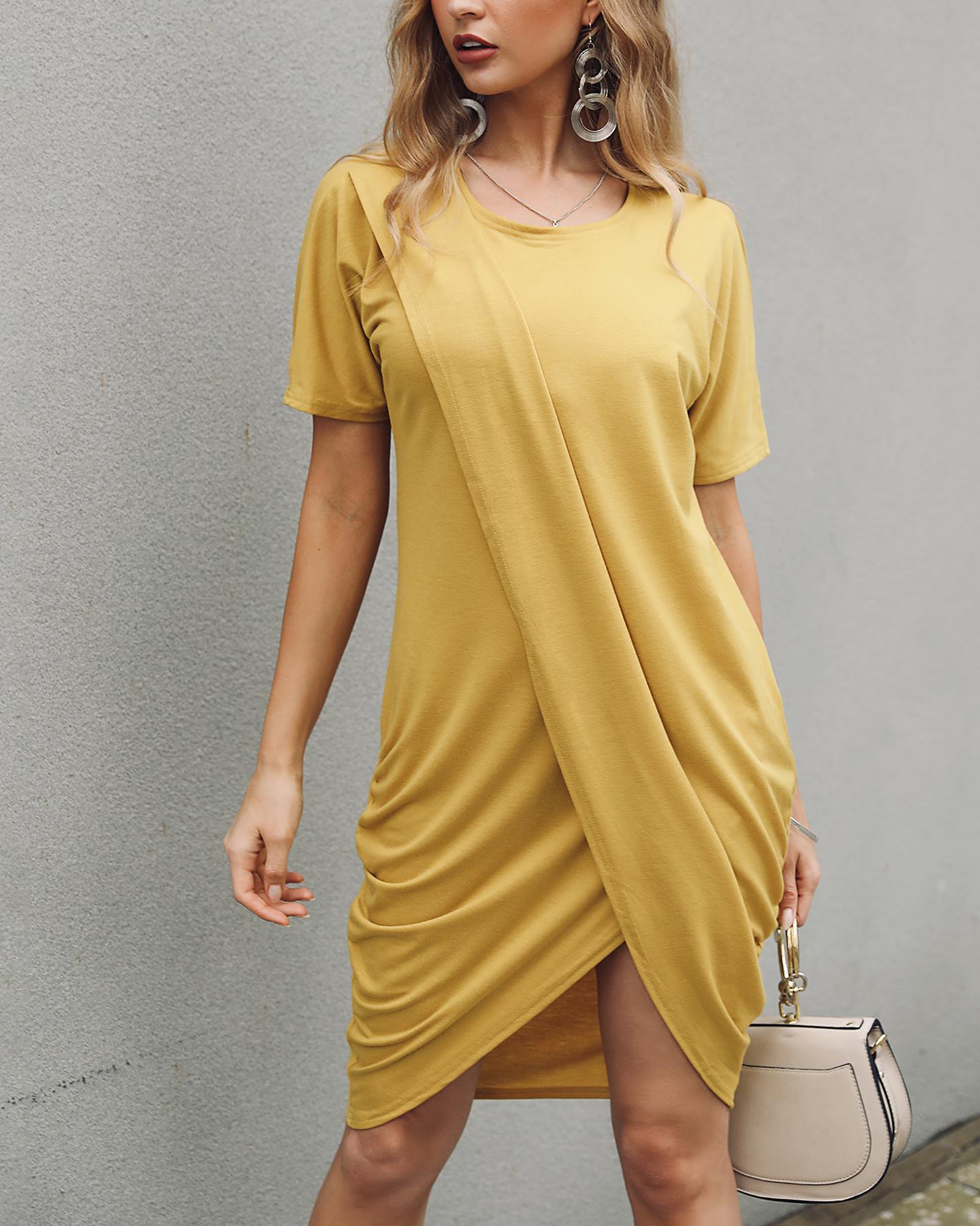 Solid Crisscross Design Irregular Dress фото