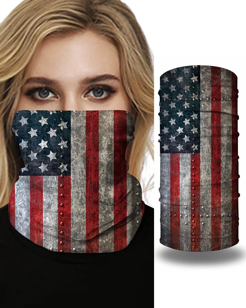 Nation Flag Print Face Bandana Magic Scarf Headwrap Balaclava, Gray