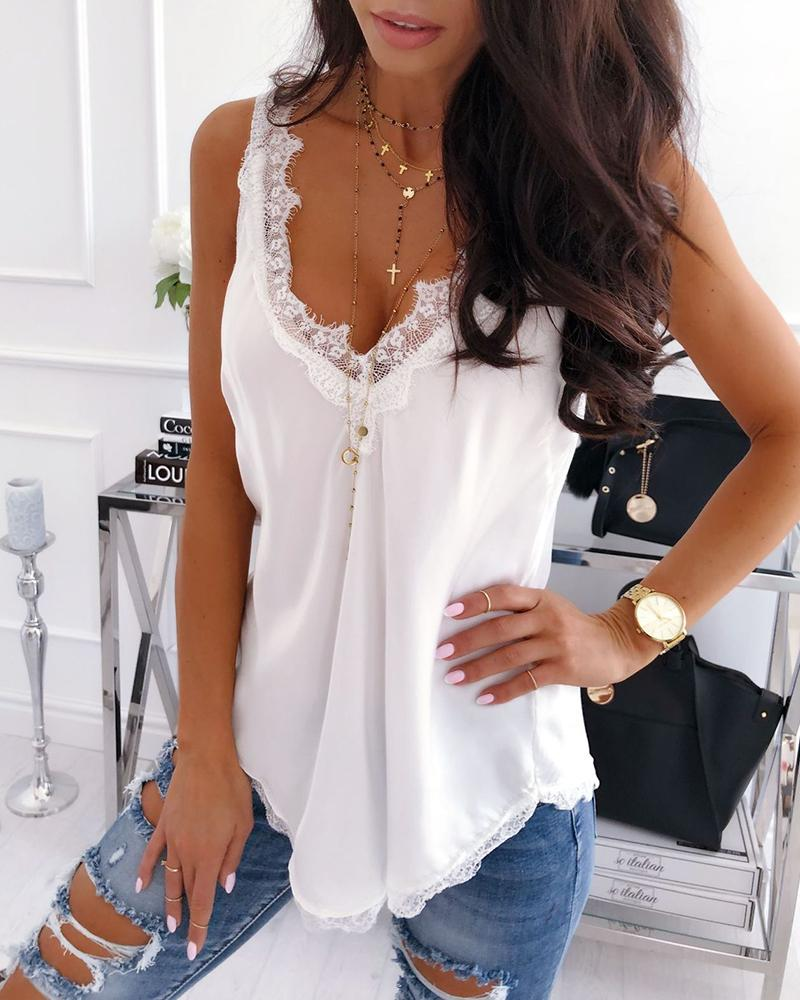 Sexy Double V Lace Splicing Vest