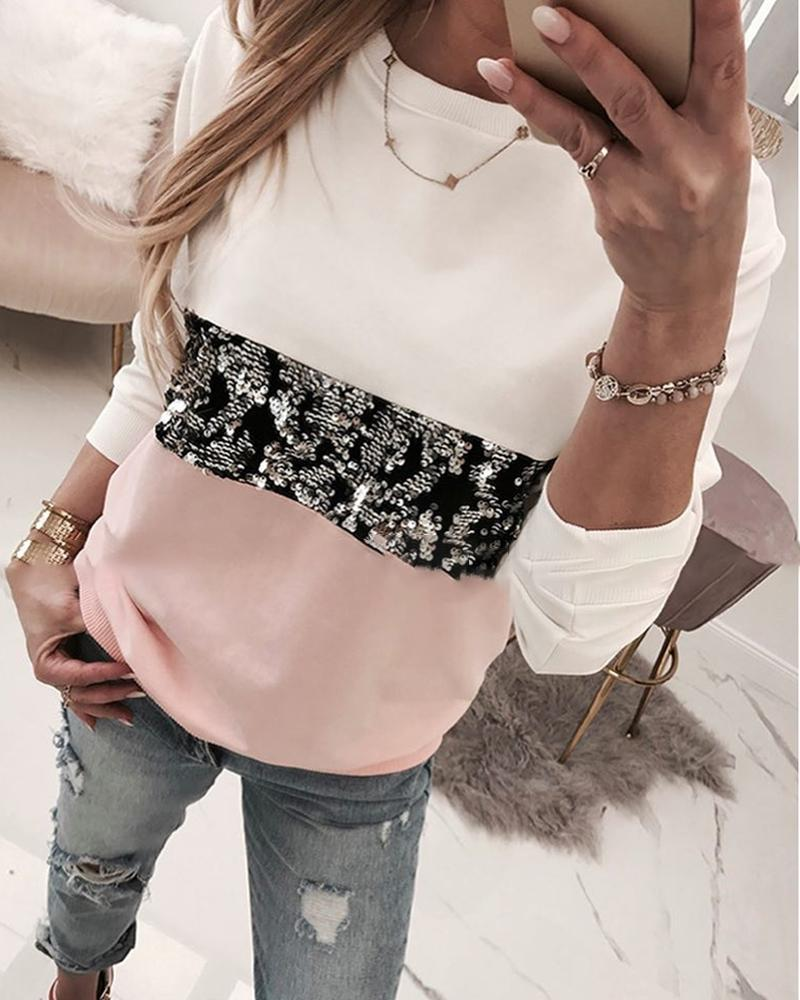 Round Neck Colorblock Insert Sequins Long Sleeve Sweatshirt фото