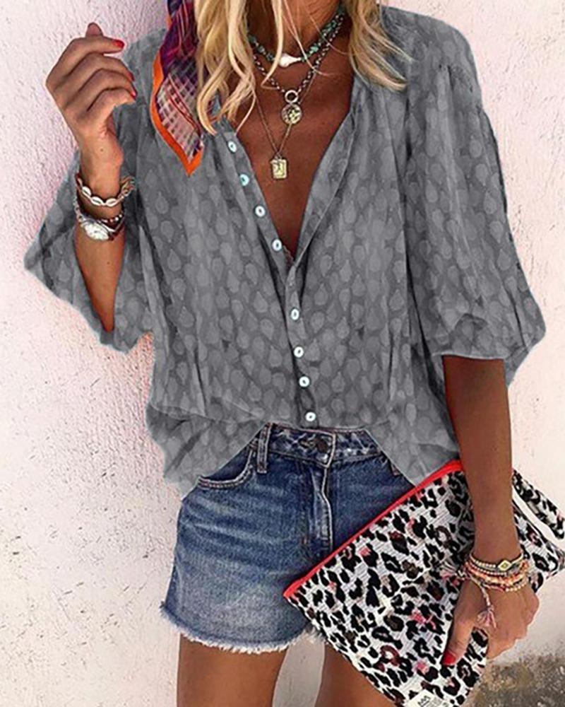 Digital Print Lantern Sleeve Buttoned Shirt, Gray