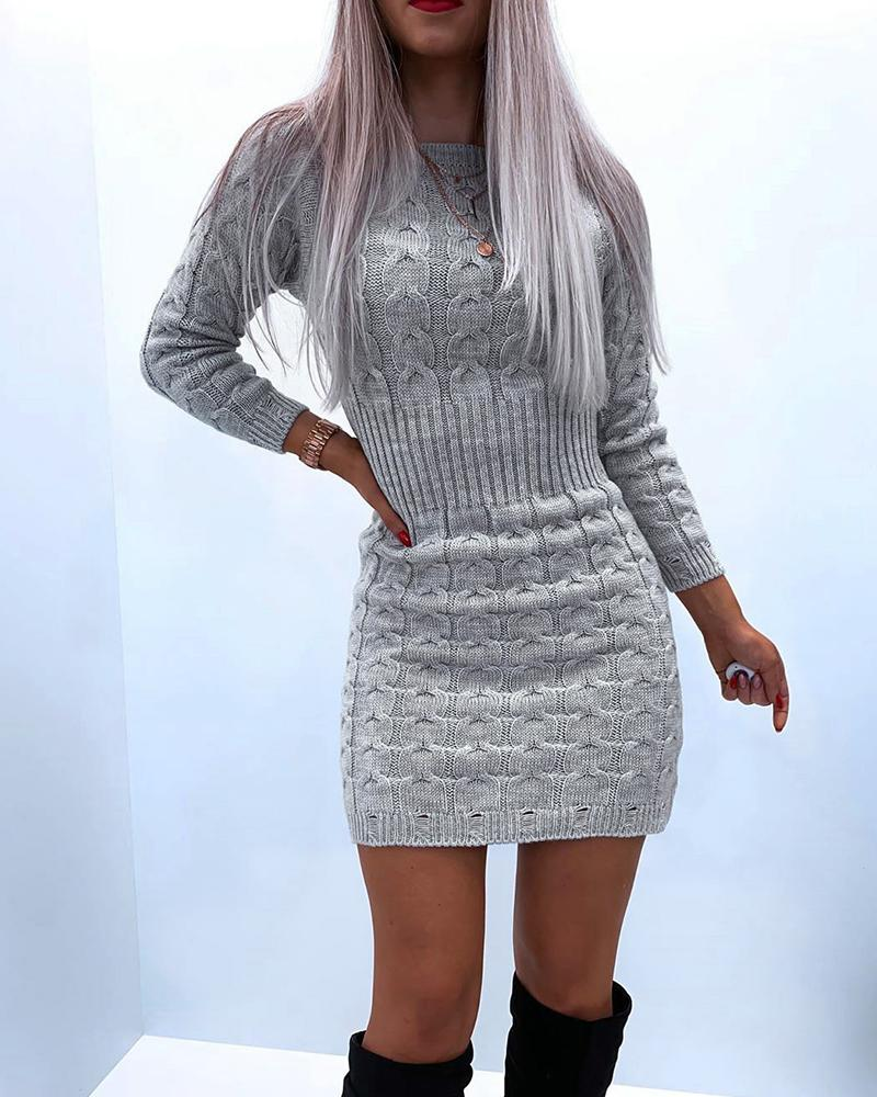chicme / Solid Color Long Sleeve Skinny Waist Sweater Mini Dress