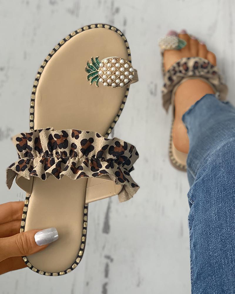 Pineapple Pattern Toe Ring Frill Hem Casual Sandals фото