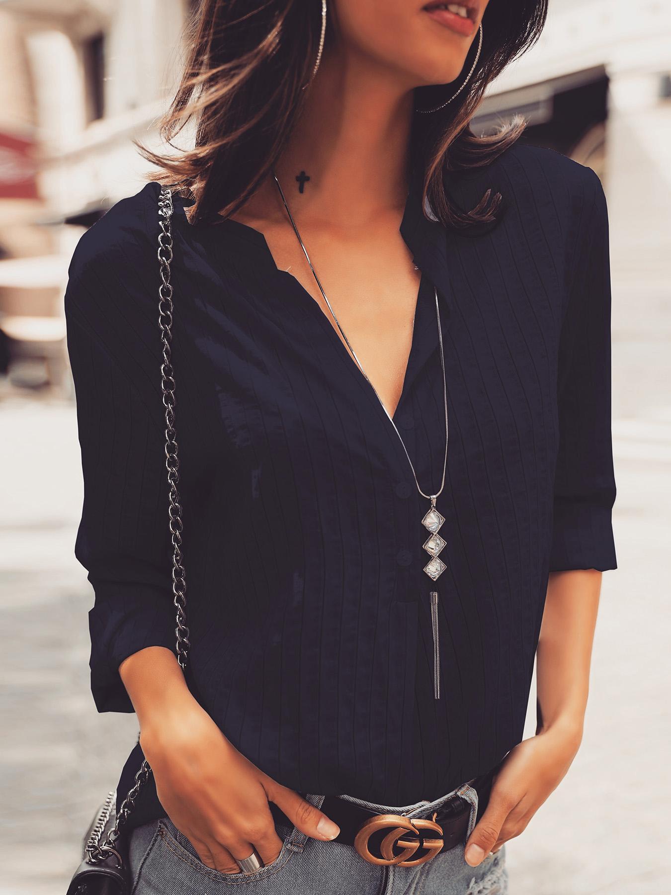 V Neck Button Design Long Sleeve Blouse