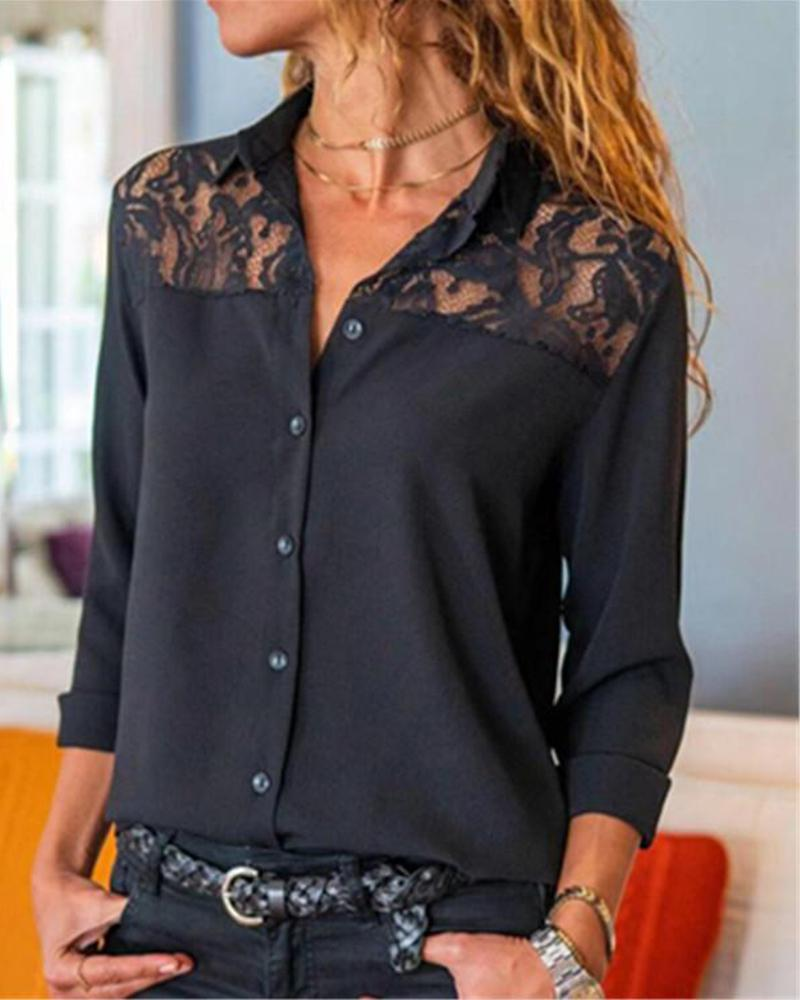 Lace Insert Button-Up Shirt фото