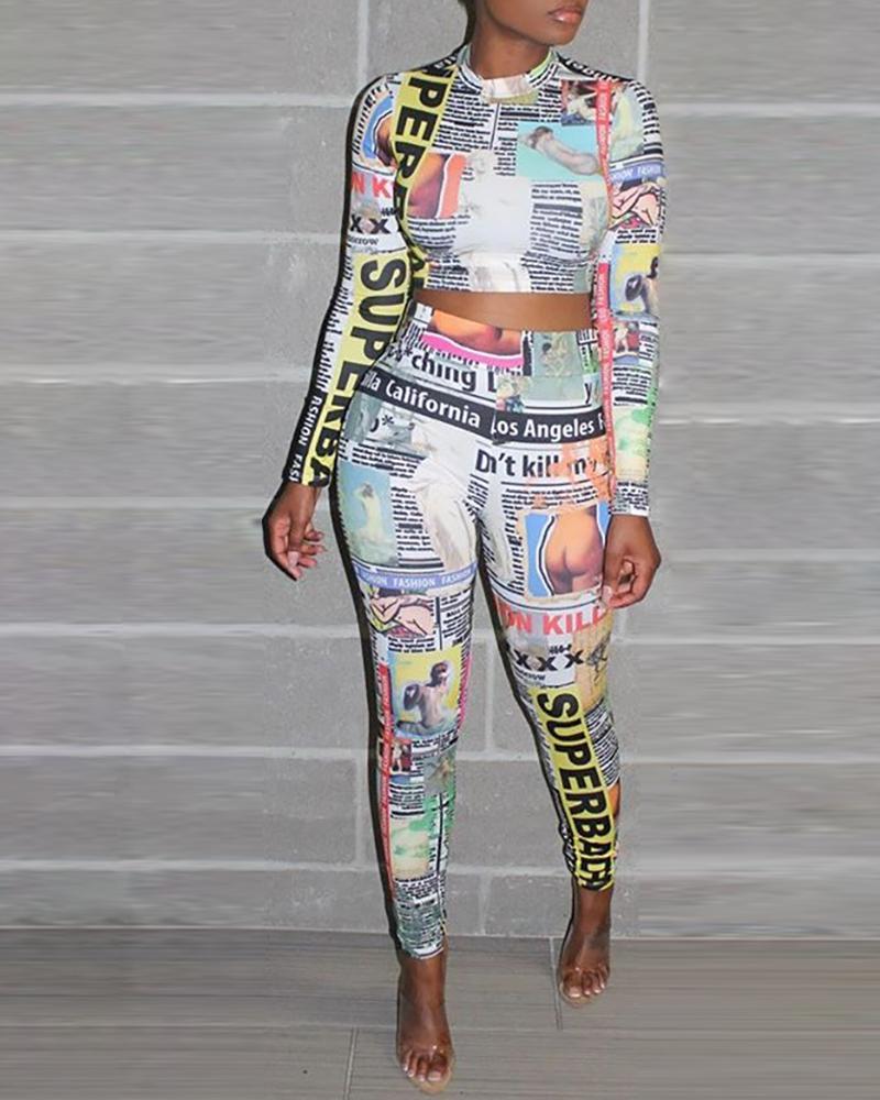 chicme / Newspaper Print Crop Top & Slinky Pants Sets